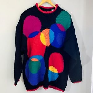 Vintage 80s 90s Oversized Colorful Sweater